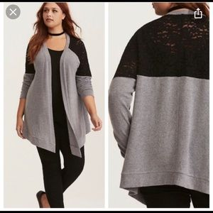 Torrid grey and black lace cardigan